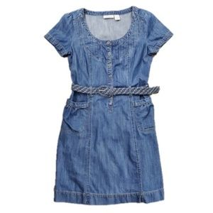 DKNY Denim dress with braided belt | Medium